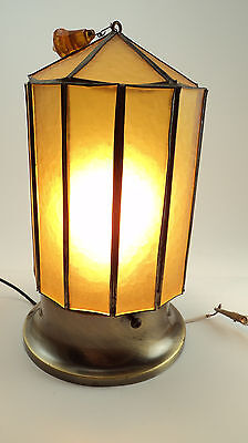 Wonderful Arts Crafts Antique paneled stainglass Lamp Light shade 3 1/4 fitter