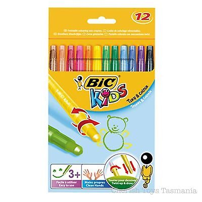 BiC Kids Twistable Crayons Turn & Colour 12 Pack Wax Twist Up Clean Art Drawing
