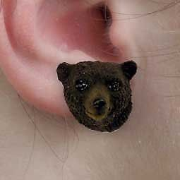 Conversation Concepts Black Bear Earrings Post