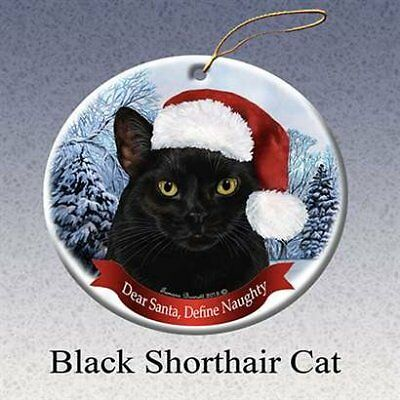 Holiday Pet Gift Black Shorthair Cat Santa Hat Porcelain Christmas Tree Ornament