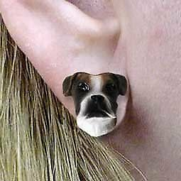 Conversation Concepts Boxer Brindle Uncropped Earrings Post Earrings
