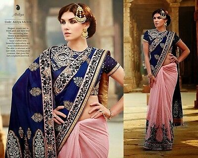 Ladies Indian Occasion Party Wedding Wear Blue Pink Embroidered Saree Sari