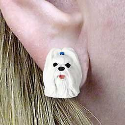 Conversation Concepts Shih Tzu White Post Earrings