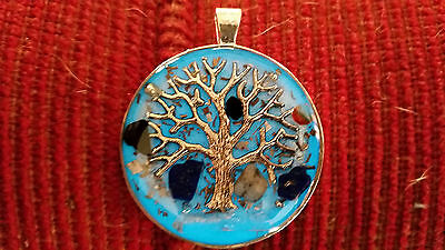 Glowing Orgone/Orgonite Pendant. Tree of life DT crystal,Amethyst and Tourmaline
