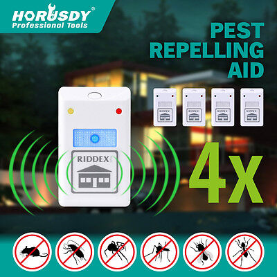 4X RIDDEX Pest Repeller Ultrasonic Electronic Rat Mosquito Insect Rodent Control