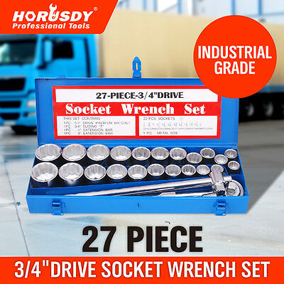 "27 Pc 3/4"" Drive Socket Wrench Set Heavy Duty Metric & Imperial  Extension Case"