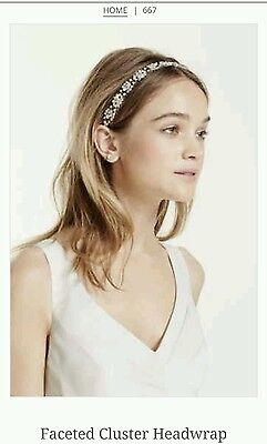 David's Bridal Faceted Cluster Headwrap, Silver, 667 ($129)