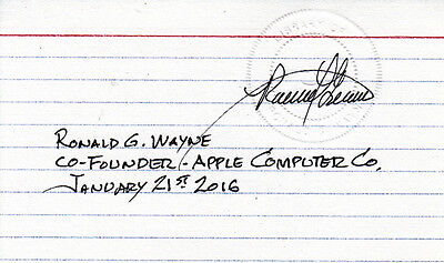 Ronald G Wayne (USA) Apple Gründer-Co Founder 1976 orig.signiert/signed ! TOP !