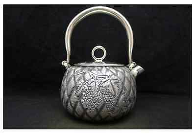 Japanese Collection TEA KETTLE made of Pure Silver ,W15 H18[cm] 616g Carved Seal