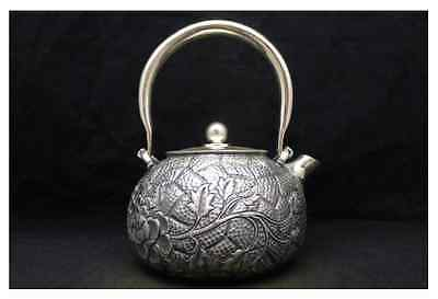 Japanese Collection TEA KETTLE made of Pure Silver ,W15 H17[cm] 526g Carved Seal