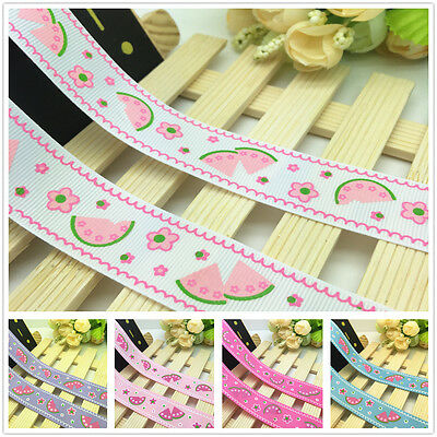 NEW 1 5 10 Yards 1'' 25mm Watermelon Printed Grosgrain Ribbon Hair Bow Sewing J