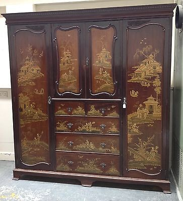 Antique Chinoiserie lacquered triple wardrobe