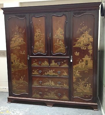 SALE....Antique Chinoiserie lacquered triple wardrobe
