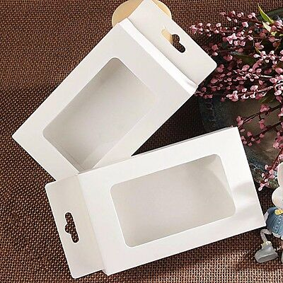 White Paperboard Clear Window with Hang Hole Packaging Box for Wedding Gift Pack
