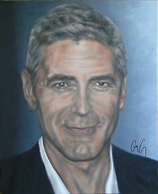 GEORGE CLOONEY Painting, AUTOGRAPHED by Him - video proof