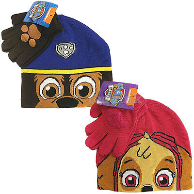 Winter Beanie Hat & Gloves Paw Patrol Skye Set For Kids Childrens Boys Girls