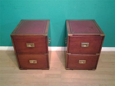Pair small mahogany campaign style chests of drawers bedside tables Burton Repro