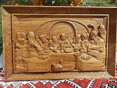 Last supper wall art Massive Wood carved religious Icon FREE SHIPPING