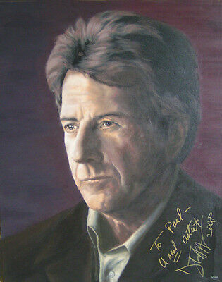 DUSTIN HOFFMAN Painting, AUTOGRAPHED by Him - video proof