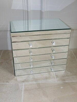 Vintage Large Mirrored Jewellery Trinket Storage Box Dressing Chest Of Drawers