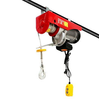 Electric Hoist Winch 500/1000KG 1600W Rope Lift Tool Remote Chain Lifting Cable