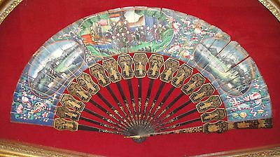 Antique China Chinese Handfan Brise Fan Mandarin Qing 100 Faces Lacquer 19Th Cen