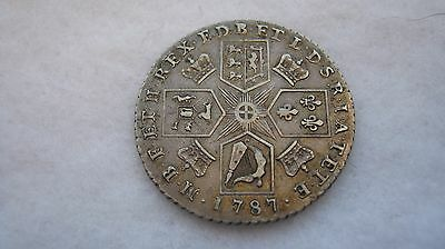 1787 George III silver shilling without semee of hearts  (E107)