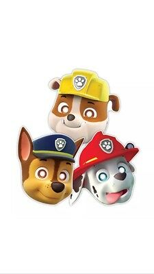 PAW PATROL Marshall Chase Rubble Children's Boys Birthday Party Face Masks x8