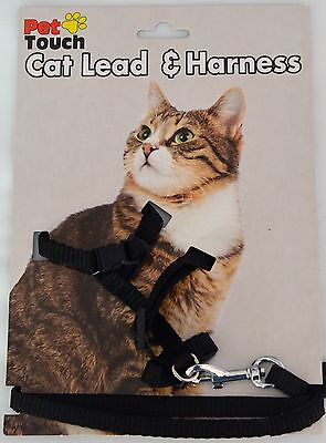 Black - Cat Harness and lead - Walk/Kitten/Fun/Play/Gift/Accessory/Exercise!