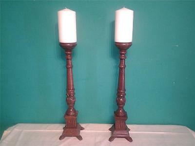 Good pair of tall carved oak pricket church candlesticks