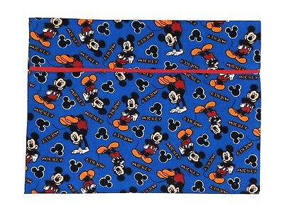Mickey Mouse Toddler Pillowcase on Blue Cotton M27-6 New Handmade