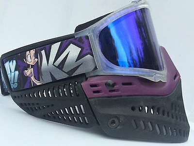 NEW JT Spectra Purple Clear Proflex Paintball Mask Goggles Blue Thermal Lens
