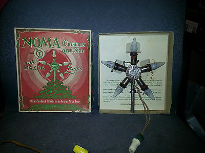 Vintage 1929 Noma Merry Christmas Star Light Tree Topper Mazda C-6 Lamps in Box.