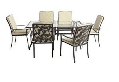Lucca 6 Seater Rectangular Metal Glass Garden Furniture Set BRAND NEW !!!