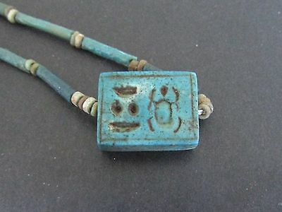 NILE  Ancient Egyptian Plaque Amulet Mummy Bead Necklace ca 1000 BC