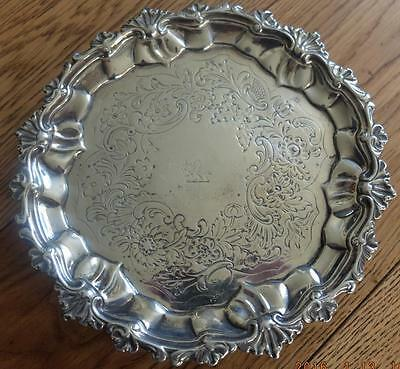 Antique Georgian Footed Silver Card Tray London 1796 - TR maker - 292 grams.
