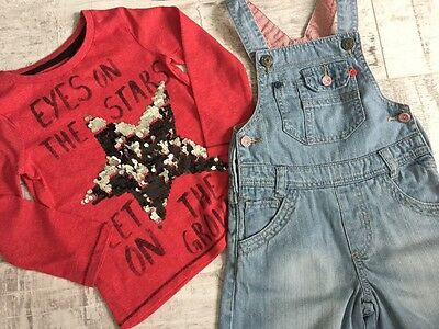 Girl Outfit Set Red Star Top NEXT +. Short Denim Dungarees Mothercare 2-3 3yrs
