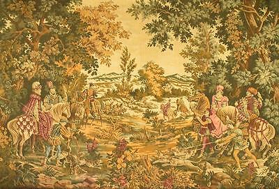 Magnificent Antique French Hunting Scene Tapestry Wall Hanging Wool & Silk 19thC