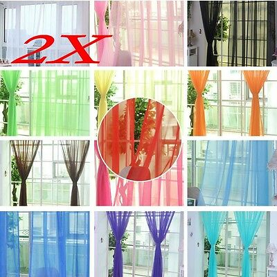 2 X Valances Tulle Voile Door Window Curtain Drape Panel Sheer Scarf Divider HQ