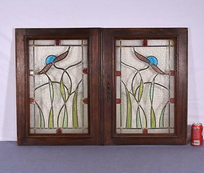 *Pair of French Antique Stained Leaded Glass Oak Wood Doors Panels Salvage