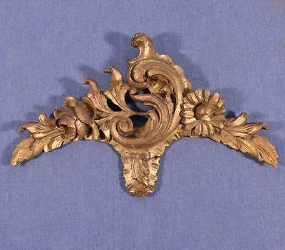 "*14"" French Louis XV Deeply Carved Antique Gilt Pediment/Crest (3 AVAILIBLE)"