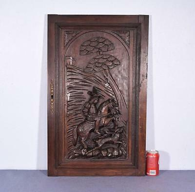 *Large French Antique Deeply Carved Hunting Panel Door Solid Oak with Deer