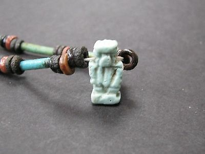 NILE  Ancient Egyptian Patikos Amulet Mummy Bead Necklace ca 600 BC