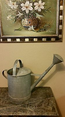 ANTIQUE VTG.1940's FRENCH GALVANIZED STEEL XLARGE WATERING CAN /3 GALLON CAP.