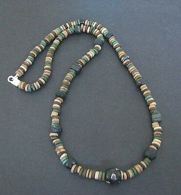 NILE  Ancient Egyptian Mosaic Amulet Faience Mummy Bead Necklace ca 1000 BC