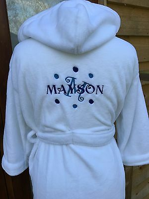 boys dressing gown white personalised with any name and blue and dark blue dots