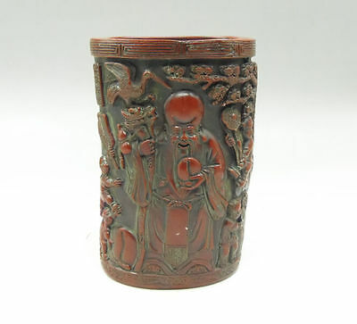Chinese Resin Wood Brush Pot carved scenes Songhe sickness Fortune