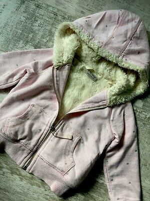 Girl Pink Warm Faux Fur Lined Hoodie Jumper Jacket By NEXT Age 3 Years