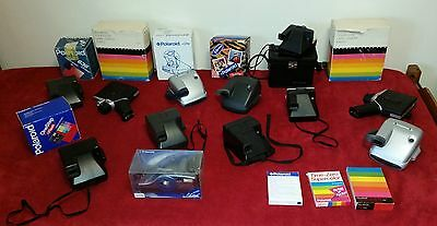 My collection HUGE job lot of 12 vintage polaroid cameras, film.  Free shipping!