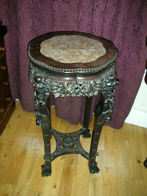 ANTIQUE 19th CENTURY CARVED CHINESE  HARDWOOD PLANT STAND/TABLE